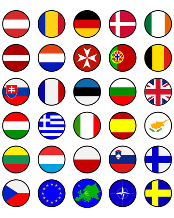 european countries: Flags of European countries in a circle on a white background