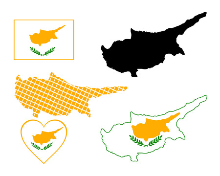 cyprus: Map of Cyprus in different colors on a white background