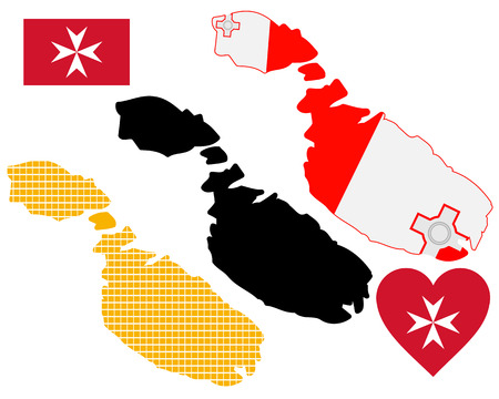 maltese map: map of Malta in different colors on a white background Illustration