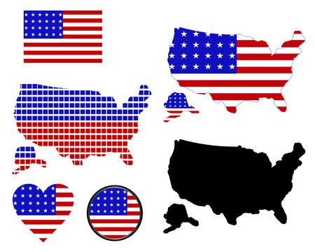 map of america of different colors on a white background