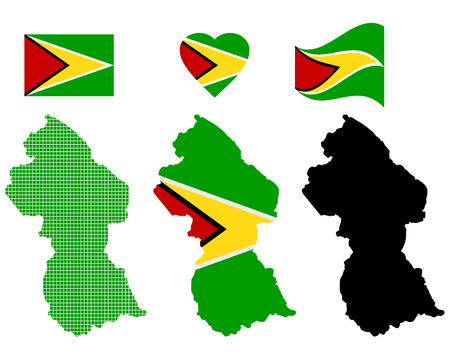 symbolics: map Guyana different types and symbols on a white background