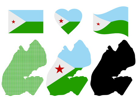 Map Djibouti different types and symbols on a white background