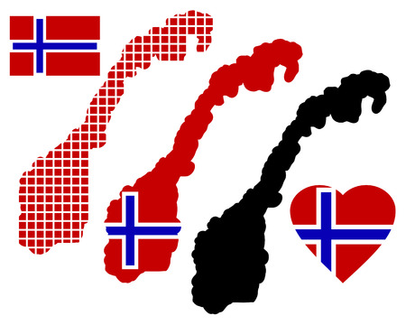 Norway map in different colors and symbols on a white background Illustration