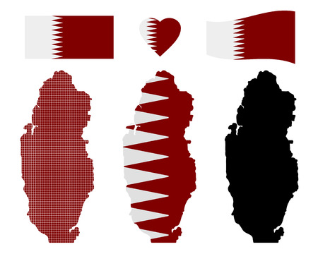 qatar: Qatar map different types and symbols on a white background Illustration