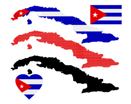 cuban flag: cube map various types and characters on a white background