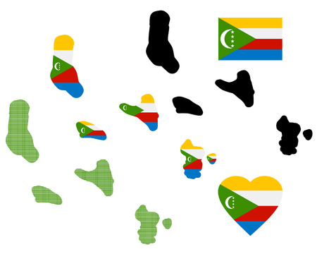 mayotte: map Comoros different types and symbols on a white background Illustration