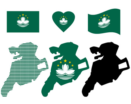 macau: map of Macau and different types of symbols on a white background