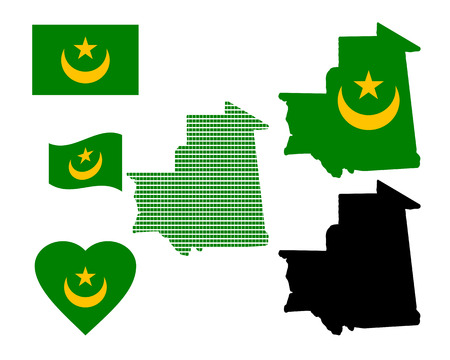 Mauritania map and various kinds of characters on a white background Vector