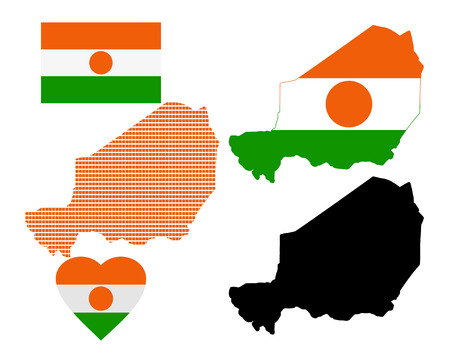 Map of Niger and the different types of characters on a white background Vector