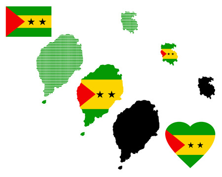 attribute: Map of Sao Tome and Principe different types and symbols on a white background