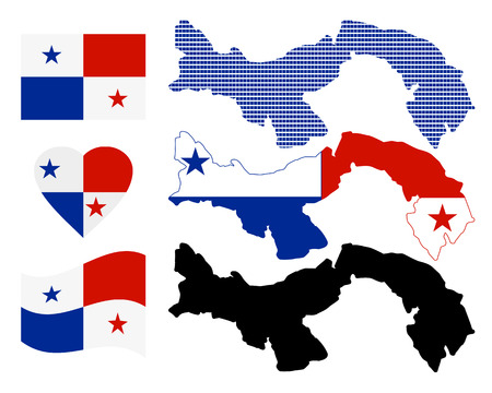 Panama map different types and symbols on a white background