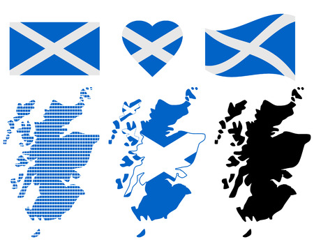 cartographer: Scotland different card types and characters on a white background