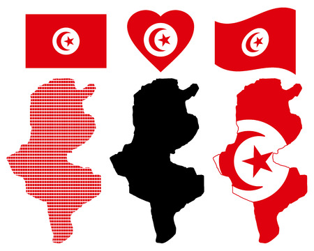 Tunisia different card types and characters on a white background