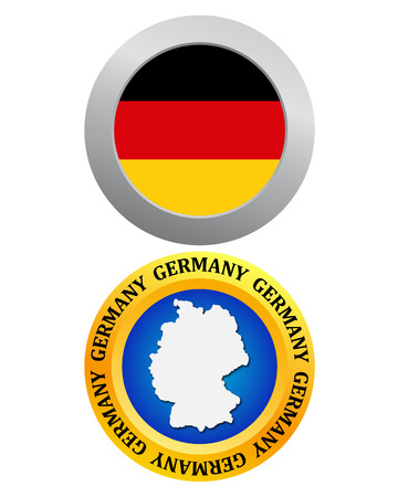 button as a symbol of Germany flag and map on a white background Vector
