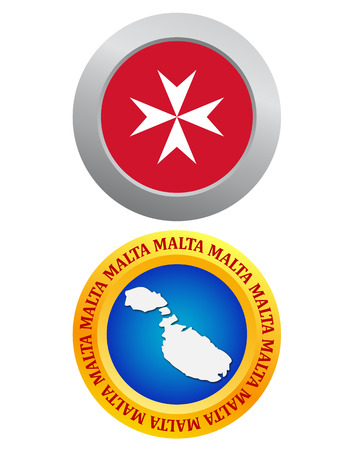 maltese map: button as a symbol MALTA flag and map on a white background