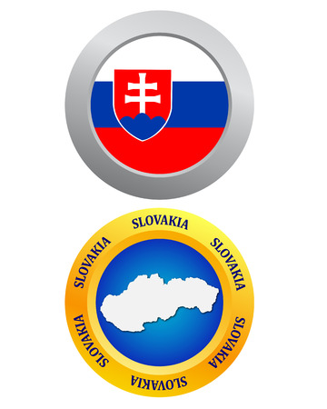 slovakia flag: button as a symbol of Slovakia flag and map on a white background