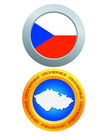 czech republic flag: button as a symbol CZECH REPUBLIC flag and map on a white background Illustration