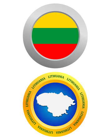 lithuania flag: button as a symbol LITHUANIA flag and map on a white background Illustration