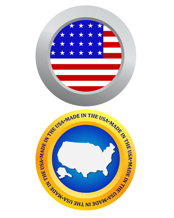 sovereignty: button as a symbol of America flag and map on a white background Illustration