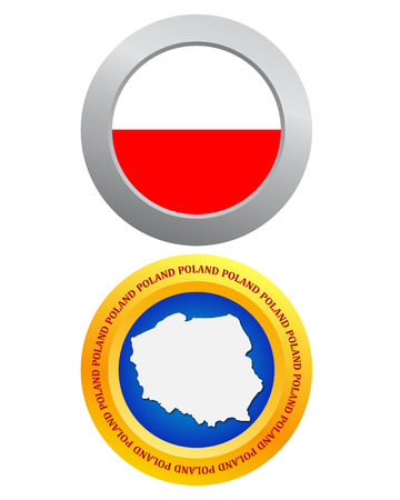 poland flag: button as a symbol POLAND flag and map on a white background Illustration