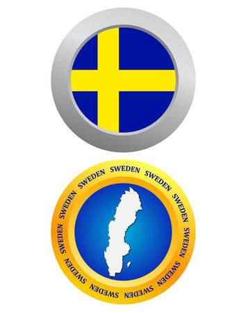 northeast: button as a symbol SWEDEN flag and map on a white background