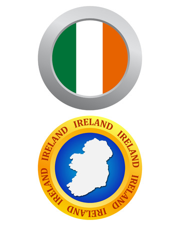 irish map: buttons as a symbol of Ireland flag and map on a white background