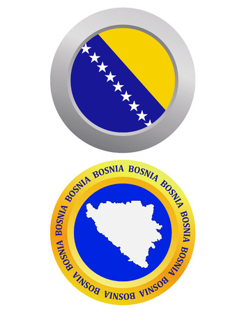 bosnian: button as a symbol Bosnia flag and map on a white background