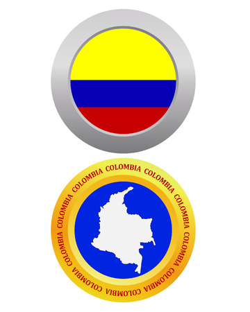 republic of colombia: button as a symbol COLOMBIA flag and map on a white background Illustration