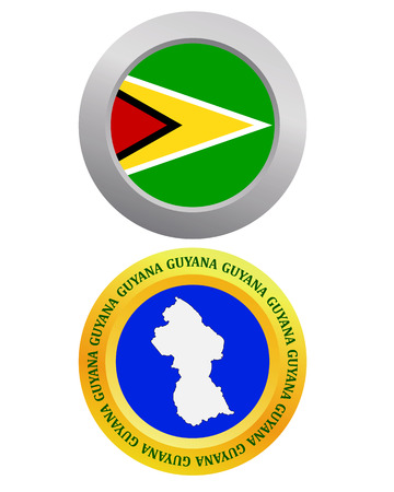 georgetown: button as a symbol GUYANA flag and map on a white background