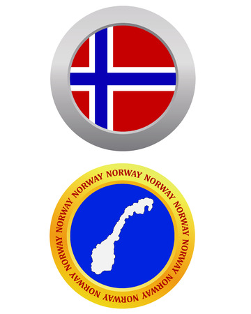 cartographer: button as a symbol NORWAY flag and map on a white background