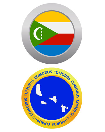 mayotte: button as a symbol COMOROS flag and map on a white background