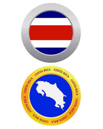 costa rica flag: button as a symbol COSTA RICA flag and map on a white background