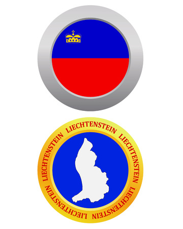constitutional: button as a symbol LIECHTENSTEIN flag and map on a white background