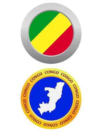 republic of the congo: button as a symbol  CONGO flag and map on a white background