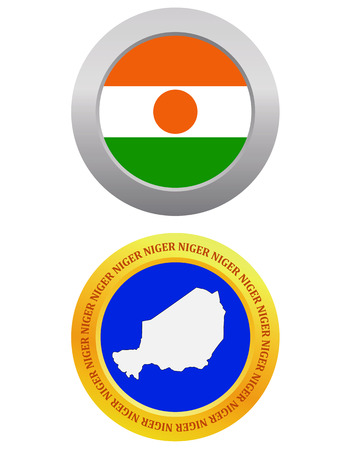 button as a symbol  NIGER flag and map on a white background Vector