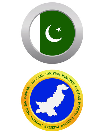 pakistan flag: button as a symbol  PAKISTAN flag and map on a white background Illustration