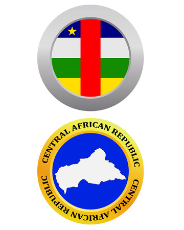 central african republic: button as a symbol CENTRAL AFRICAN REPUBLIC flag and map on a white background