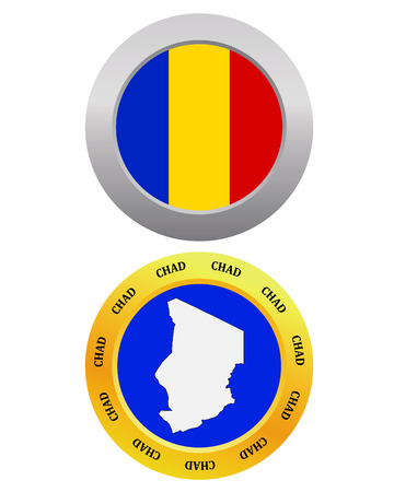 chad flag: button as a symbol CHAD flag and map on a white background Illustration
