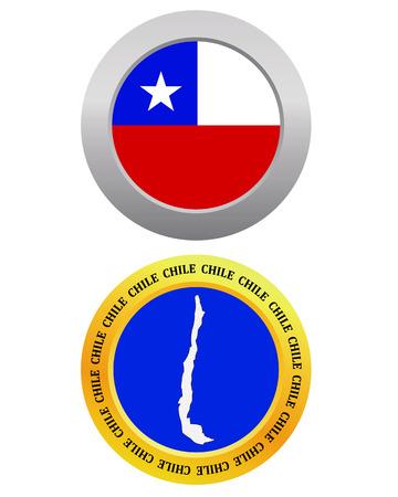 bandera de chile: bot�n como bandera CHILE s�mbolo y mapa sobre un fondo blanco