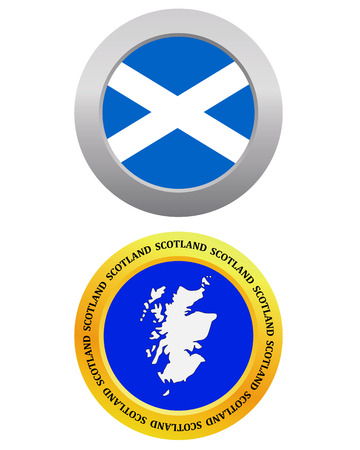 cartographer: button as a symbol SCOTLAND flag and map on a white background