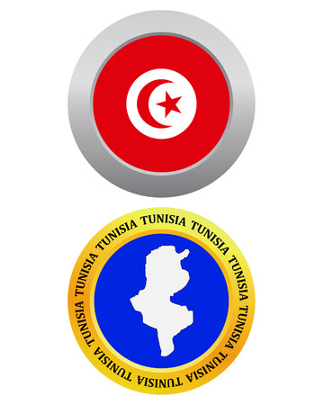 button as a symbol TUNISIA flag and map on a white background Illustration
