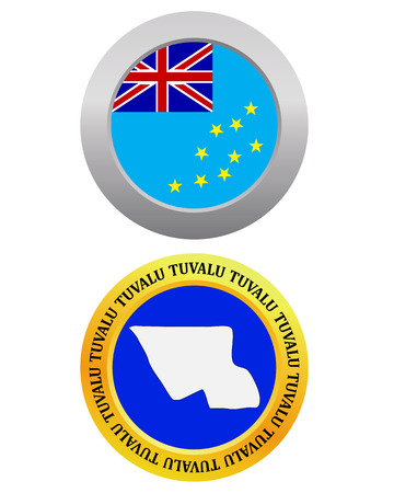 tuvalu: button as a symbol TUVALU flag and map on a white background Illustration