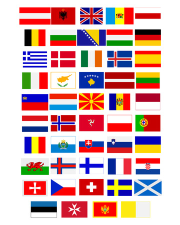 european countries: Flags of European countries on a white background