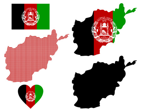 afghan flag: map flag and symbol of Afghanistan on a white background