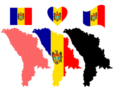 moldovan: map and flag of Moldova symbol on a white background