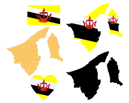 map of brunei: map and flag of Brunei symbol on a white background