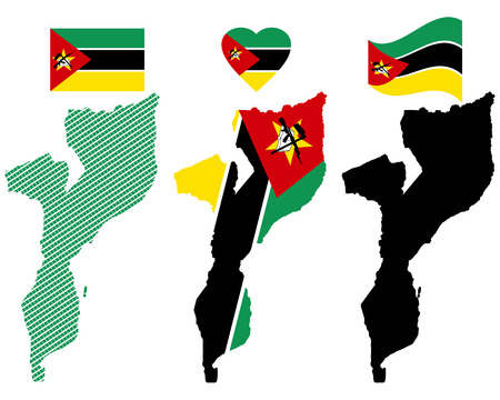 mozambique: map flag and symbol of Mozambique on a white background