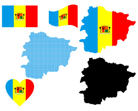 andorra: map and flag of Andorra symbol on a white background
