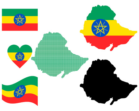 ethiopia abstract: map flag and symbol of Ethiopia on a white background Illustration