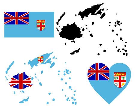 fiji: kaart vlag en het symbool van Fiji op een witte achtergrond